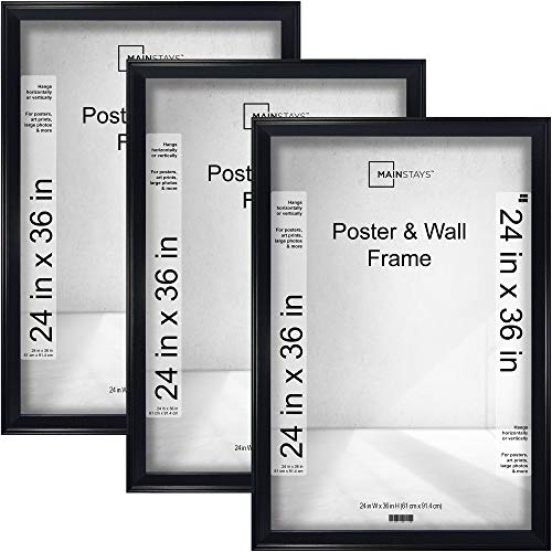 24x36 Casual Black Poster and Wall Picture Frame, Horizontal or Vertical Display, Set of 3