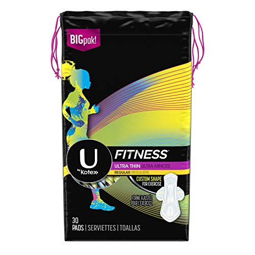 (U by Kotex Fitness Ultra Thin Pads with Wings, Regular Absorbency, Fragrance-Free Pads, 30 Count)
