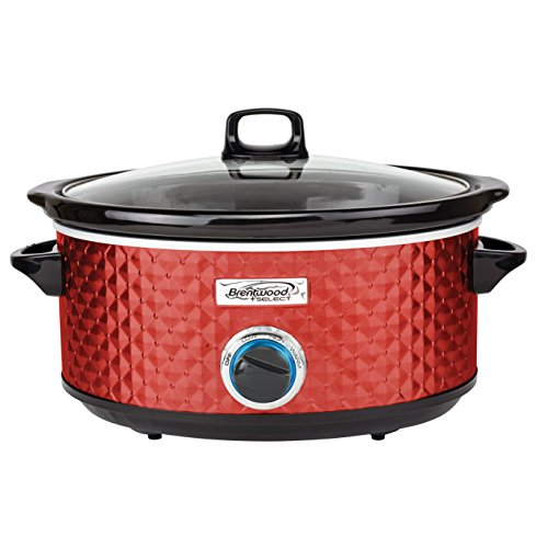 Brentwood SC-157R Diamond Pattern, 7 Quart (Red) Slow Cooker