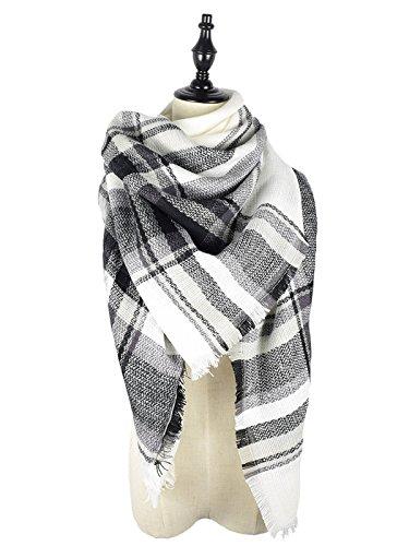 Black Scarf White (Zando Soft Warm Tartan Plaid Scarf Shawl Cape Blanket Scarves Fashion Wrap White Gray Black  White Gray Black  One Size)