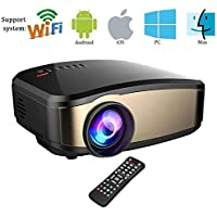 Wireless Wifi Video Projector,Weton Full HD 1080P LED Home Theater Movie Projector Portable Mini Projector for iphone With HDMI USB Headphone Jack TV Good for Home Cinema XBOX ONE 130 Max Dispaly