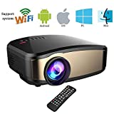 Electronics : Wireless Wifi Video Projector,Weton Full HD 1080P LED Home Theater Movie Projector Portable Mini Projector for iphone With HDMI USB Headphone Jack TV Good for Home Cinema XBOX ONE 130'' Max Dispaly