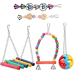Yosoo Wood Bird Ladder Ball Bell Parrot Swing Bridge Cage Accessories Decor Rainbow Pet Trainning Toy 5pcs/Set