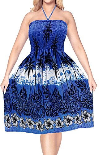 Printed Silk Smock Dress - LA LEELA Soft  Printed Maxi Wedding Designer Dresses Royal Blue 938 One Size