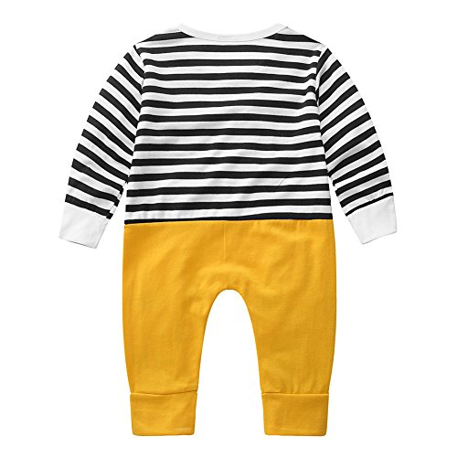 Usaboutall Cute Chicken Printed Baby Boy Girl Stripe Romper Jumpsuit Hat Infant Outfit Set