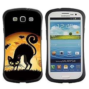 Fuerte Suave TPU GEL Caso Carcasa de Protección Funda para Samsung Galaxy S3 I9300 / Business Style Black Cat Halloween Yellow Eyes Witch Art Drawing