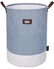 DOKEHOM DKA0822G Freestanding Laundry Basket with Lid, Collapsible Round Drawstring Clothes Hamper Storage with Leather Handle