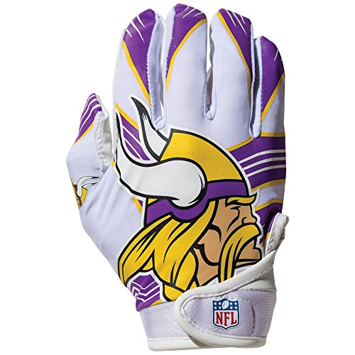 NFL Minnesota Vikings Youth Receiver Gloves,White,Medium