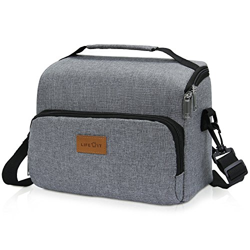 Lifewit Insulated Lunch Bag Lunch Box with Adjustable Shoulder Strap for Women Men 8L Grey