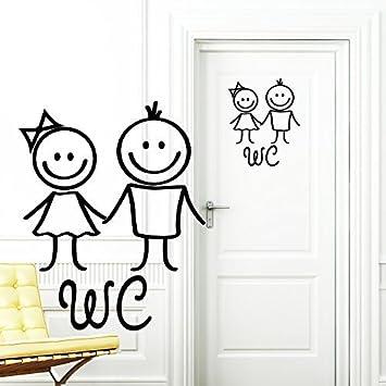Wandtattoo Loft U201eWC Aufkleberu201c Mann Und Frau In SCHWARZ  Türaufkleber Badezimmer Toilette Türschild Sticker