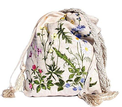 "H-line Embroidered Cross-body Handbag 17.5""x13"". Unique Birthday, Christmas Gift for Her, Women, Wife, Girl, Teens, Daughter, Mom, Grandma, Birthday, Hostess, Friends, (Feedbag, Beige)"