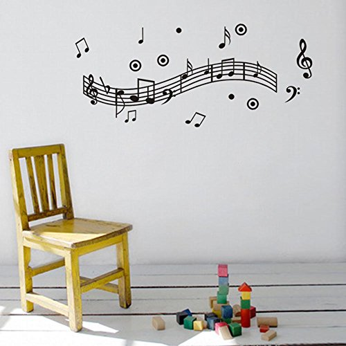 BIBITIME Elegant Music Note Wall Stickers Polka Dots Musical Staves Vinyl Decals for Recording Studio Study Kindergarten Nursery PVC Decoartions DIY ()