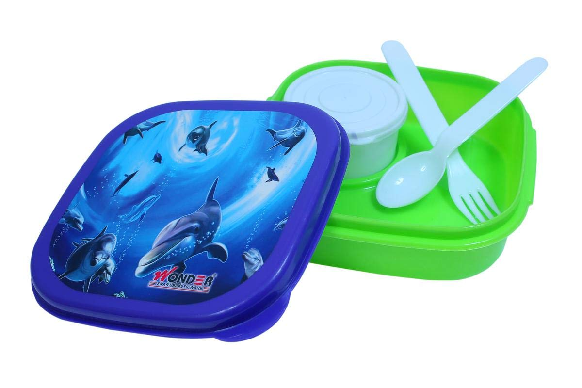 Wonder Kitkat Small Leak-Proof Lunch Box,1 Pc Lunch Box with 1 Separate Leakproof Container, Green Color, Made in India, KBS01251