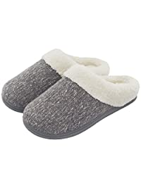 ULTRAIDEAS Women's Cozy Woolen Yarn Knitted Slippers Memory Foam Fuzzy Plush Lining Slip on House Shoes with Indoor Outdoor Anti-Skid Rubber Sole