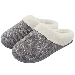 ULTRAIDEAS Women's Cozy Woolen Yarn Knitted Slippers Memory Foam Plush Lining Slip-On House Shoes w/Anti-Slip Sole, Indoor/Outdoor (Medium/7-8 B(M) US, Gray)