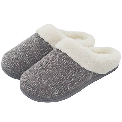 Women's Cozy Woolen Yarn Knitted Slippers Memory Foam Plush Lining Slip-on House Shoes w/Anti-Slip Sole, Indoor/Outdoor (Medium/7-8 B(M) US, Gray) - Plush Lining