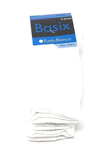 Punto Blanco - Pack x3 Calcetines sport Hombre BASIX Rizo -COLOR BLANCO TALLA U (