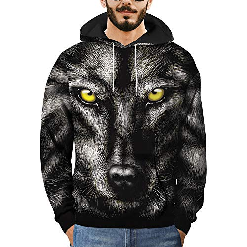 Price comparison product image Mens 3D Printed Wolf Pullover Long Sleeve Hooded Sweatshirt Tops Blouse