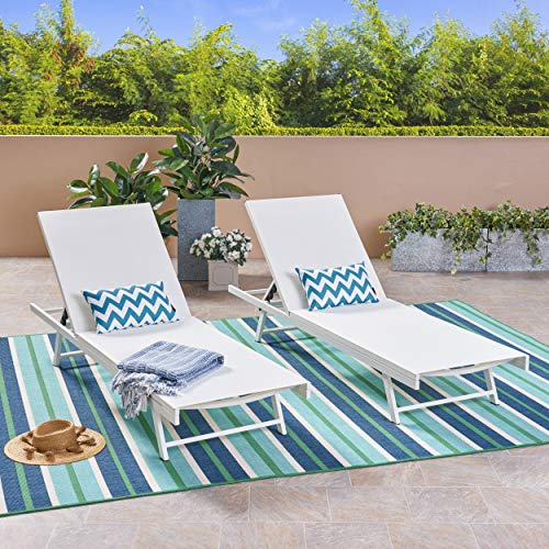 Christopher Knight Home 304998 Simon Outdoor Aluminum and Mesh Chaise Lounge Set of 2 , White