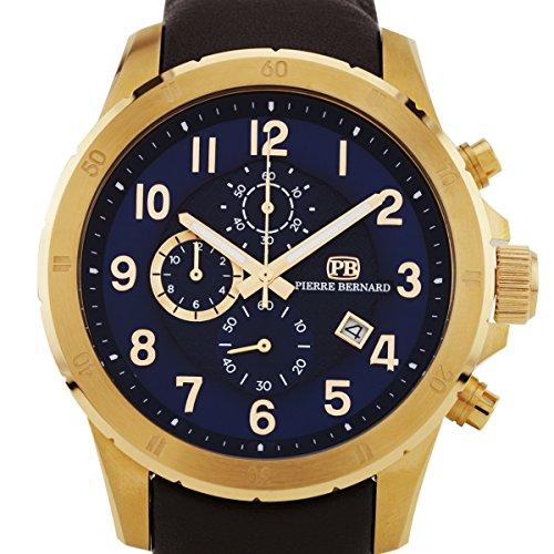 Pierre Bernard Macallan men's sport/luxury chronograph watch, genuine leather, Miyota OS10 movement