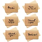 4 x 6 Thank You Cards Set - 48 Bulk Kraft Paper Thank You Notes, Box Set Thank You Cards Hand Written Style for All Occasions Wedding Birthday Baby Shower, Brown Envelopes Included (Kraft)