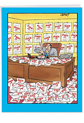 (Man With Stamp Birthday' Big Greeting Card with Envelope 8.5 x 11 Inch - Office Work Funny Cartoons, F-ck Paperwork Comic Art Stationery Set for Personalized Happy Bday Greetings and Wishes J4728)