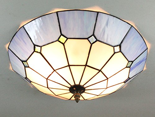 ETERN 16-Inch European Retro Style Mediterranee Blue Stained Glass Flush Mount Ceiling Light Dining Room Light