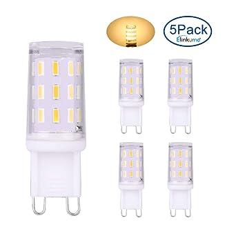 ELINKUME 5 Pack Bombillas LED G9 3W 366LM Blanco cálido Lámparas de bajo consumo sin parpadeo
