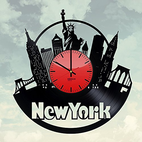 Handmade Decorative Wall Clock Made From Used Vinyl Record - Get unique bedroom or living room wall decor - Gift ideas for adults, boys and girls – New York Skyline Unique Art Design