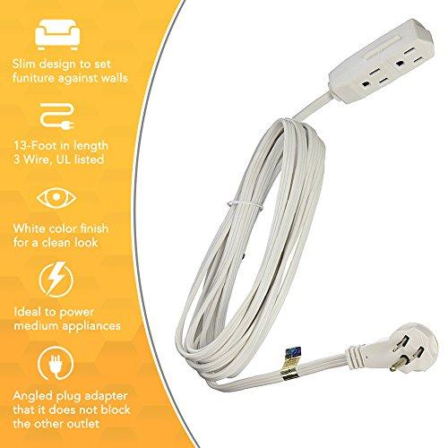 slimline 2232 flat plug extension cord 3 wire white 13. Black Bedroom Furniture Sets. Home Design Ideas