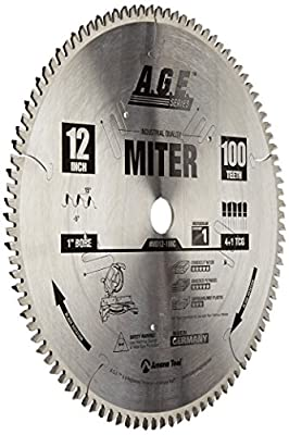 Amana Tool A.G.E. Series MD12-106 Heavy Duty Miter/Double Miter 12-Inch x 100-Tooth 4 ATB+R 1-Inch Bore Saw Blade by Amana Tool