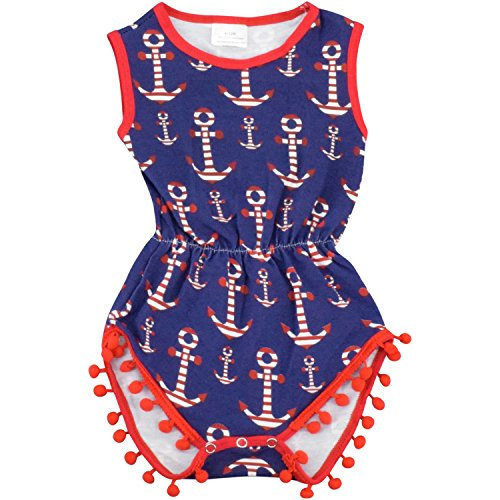 Unique Baby Girls 4th of July Baby Nautical One-Piece Bodysuit (Blue, 18-24 mo/XL) -
