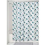 InterDesign Triangles Soft Fabric Shower Curtain, 72x72-Inch, Deep Sea and Mint