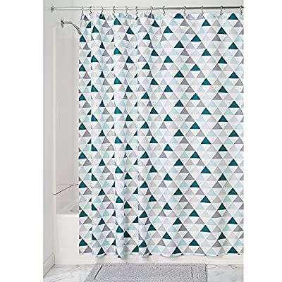 """iDesign Triangles Soft Fabric Shower Curtain - 72"""" x 72"""", Deep Sea/Mint - Features 12 reinforced button holes for easy hanging Easy care: machine wash cold, tumble dry low Quick-dry; mold/mildew resistant fabric - shower-curtains, bathroom-linens, bathroom - 51YxnfNnwHL. SS400  -"""