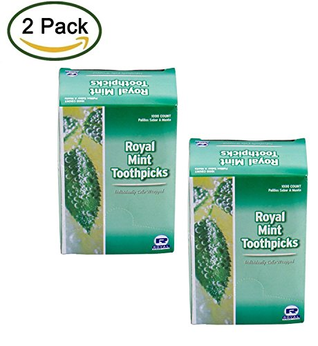 2 Pack - Royal Mint Individual Cello Wrapped Toothpicks, 2000 - Mint Cello Toothpick Individual Wrapped