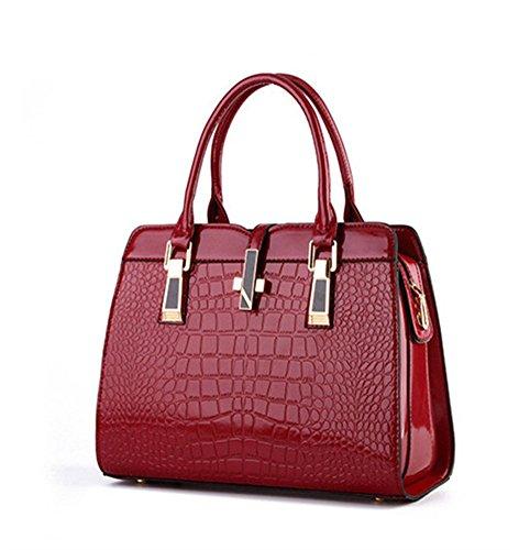 New QCKJ-Lorenz-Borsa a tracolla da donna in massello, colore: rosso vino