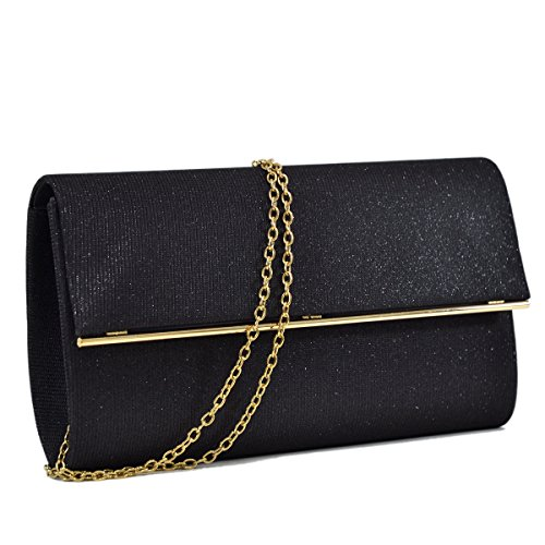Women Glitter Sequin Clutch Purse Evening Bag Shiny Party Handbag Black