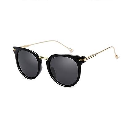 LIZHIQIANG Marco Redondo Gafas Retro Señoras Polarizadas Gafas De Sol Cara Redonda Gafas De Sol Cara
