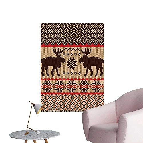 (Cabin Decor Waterproof Art Wall Paper Poster Knitted Swatch with Deers and Snowflakes Classic Country Plaid Digital Print Elevator Stairs Wall Brown Tan Red W20 x H28)