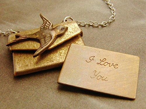 I Love You Locket Necklace, envelope locket necklace, i love you locket necklace, bird locket, envelope necklace, envelope -