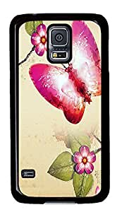 Samsung S5 discount cases Butterfly Painting Art PC Black Custom Samsung Galaxy S5 Case Cover