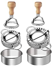 Ravioli Stamp Maker Cutter Round Shapes Mold with Wooden Handle with Dumplings Maker Sets