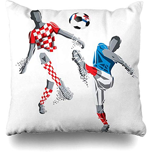Throw Pillow Case Cushion Covers Sport Action Final FIFA World Cup Football Victory Sports Recreation Arena Ball Champion Championship Design Home Decor Square 18 x 18 Inch Zipper