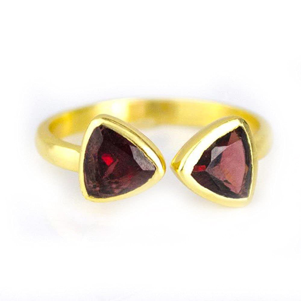 DV Jewels Garnet Quartz Adjustable Triangle Ring