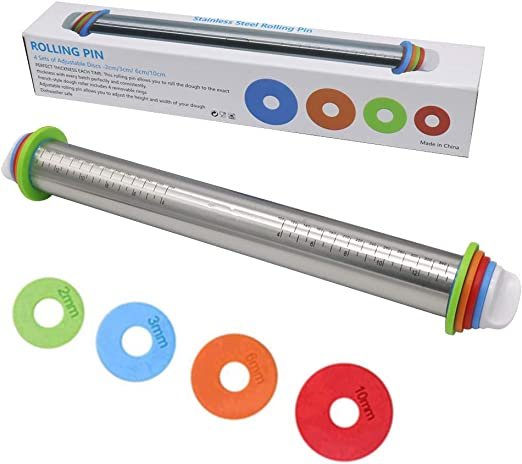 Adjustable Stainless Steel Rolling Pin With Removable Rings Dough Tool Charm