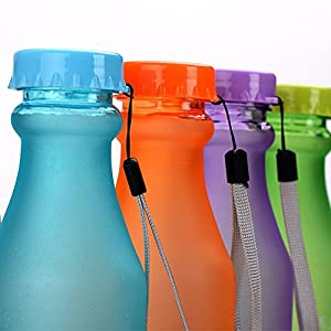 Finex Set of 3 BPA-Free Candy Color Water Bottle with hand strap lanyard for sports sporting with cap small perfect for adult and kids children school 18.5-ounce /550ML Random Color