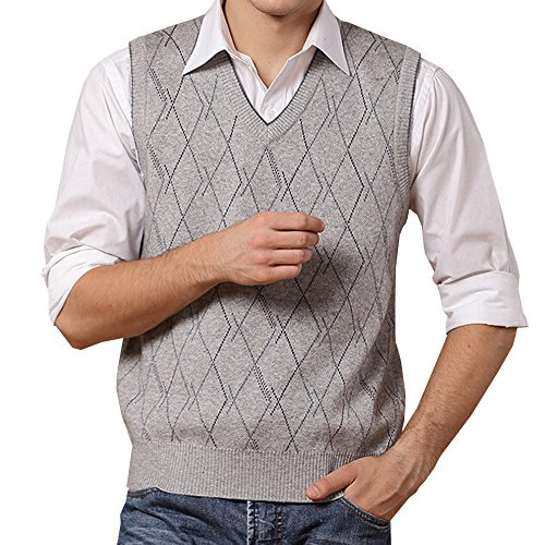Lisianthuas Mens' Argyle V-Neck Sweater Vest Color Light Grey Size M Cashmere Argyle Sweater
