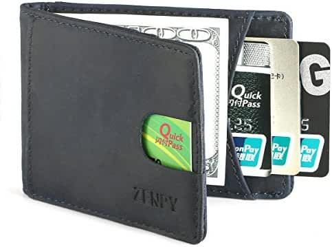 Zenpy RFID Blocking Bifold Front Pocket Wallets Money Clip Slim Minimalist Wallet for Men - Made From Crazy Horse Full Grain Leather