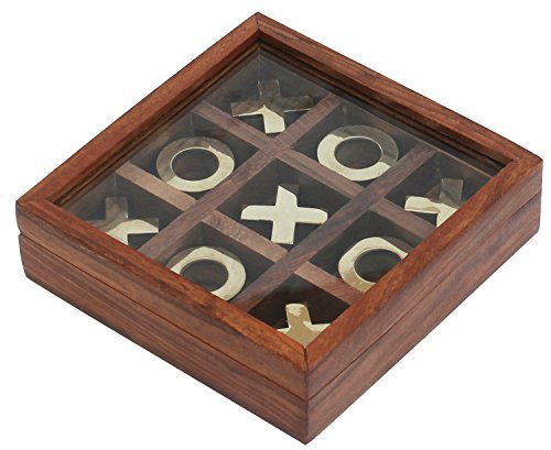 SouvNear SG-NGN-006 Handmade Wooden Tic-Tac-Toe Game with Brass Decorations in a Box with Glass Lid 4.6 x 4.6 x 1.3 inches Brown