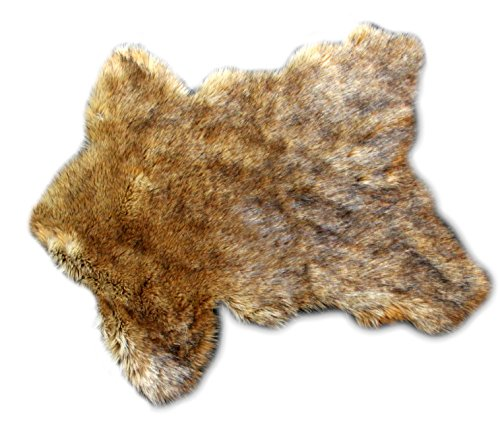 Fur Accents Timber Wolf Pelt Rug Coyote Bear Skin Area Throw